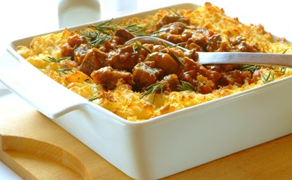 Curried Beef and Mushroom Gratin