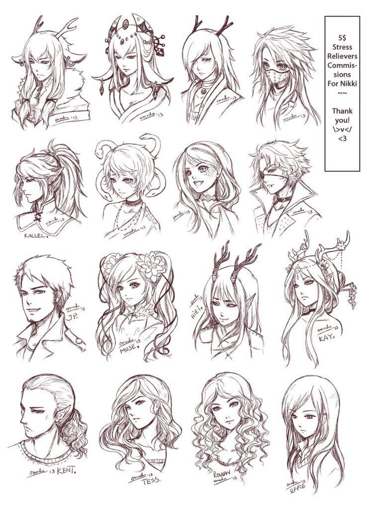 Inspiration: Hair & Expressions ----Manga Art Drawing Sketching Head Hairstyle---- [[[Batch3 by omocha-san on deviantART]]]: