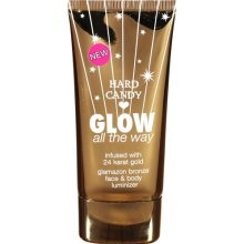 """Hard Candy is an excellent line of cosmetics (especially for the price). I love the """"Glow All the Way"""" instant bronzer for the face and body. Use under or over make up, it gives you a nice bronze glow. You can find Hard Candy cosmetics at Wal Mart."""