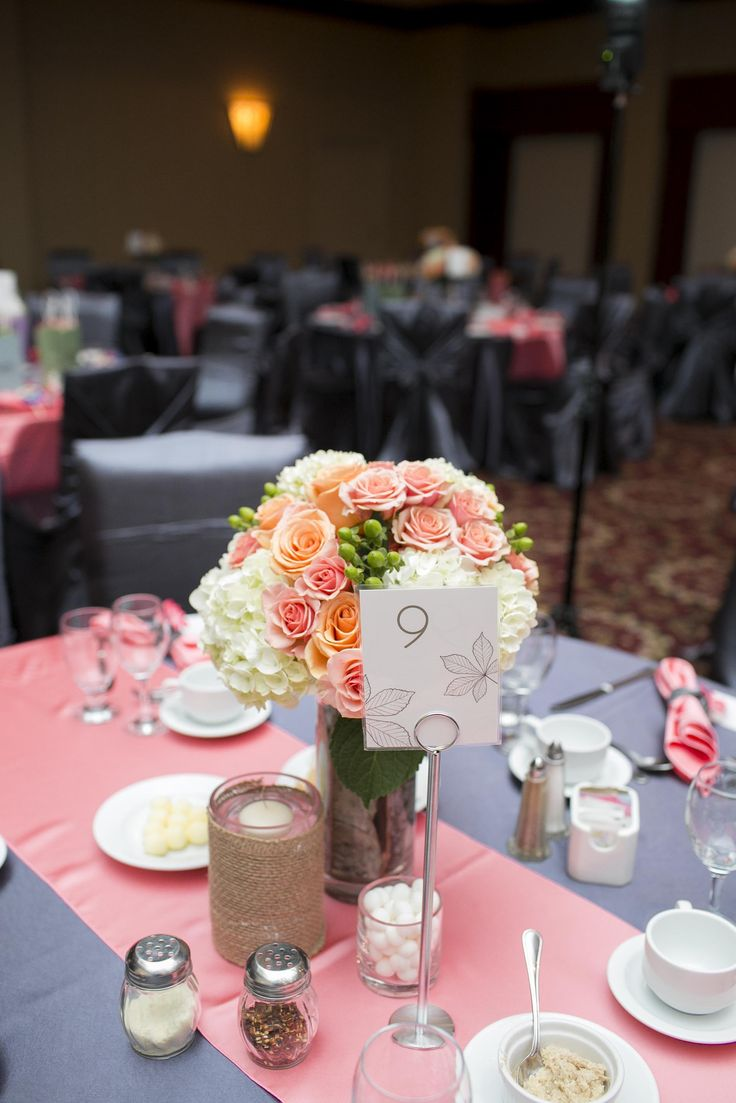 Table Set up | Coral and Dark Slate