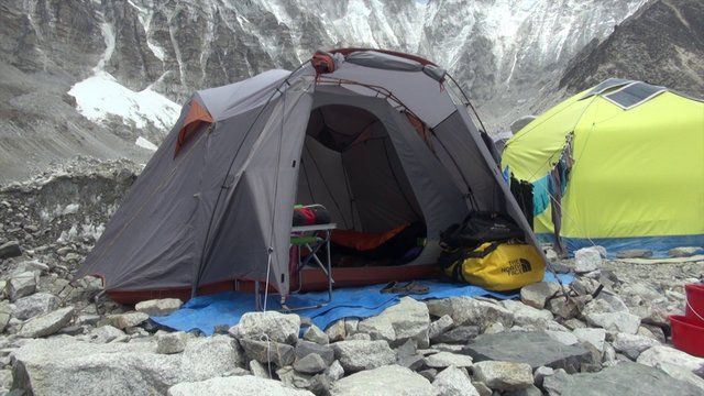 This video is about Heather's tent at Everest / Lhotse Base Camp
