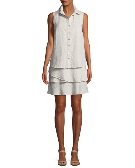 5b7cd4a170f Get free shipping on Finley Jasmine Sleeveless Linen Dress at Neiman Marcus.  Shop the latest luxury fashions from top designers.