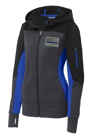 Keep your hands warm or headphones safe with our Thin Blue Line Ladies Zipped Fleece!