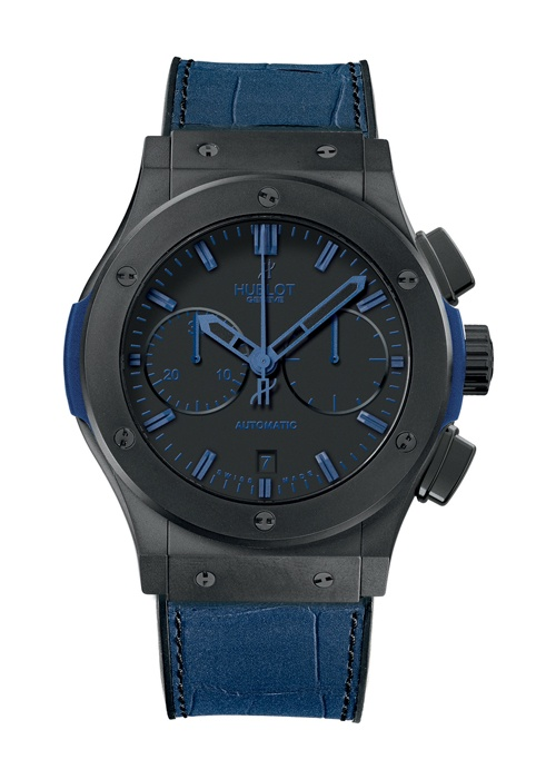 Classic Fusion All Black Blue Chronograph watch from Hublot