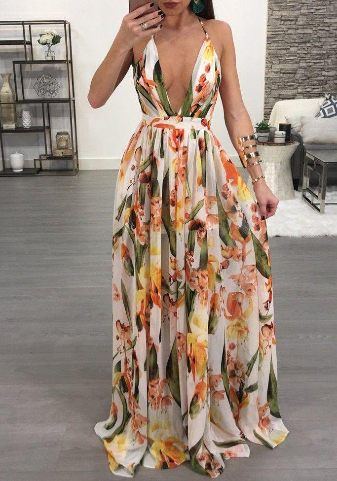 White Draped Spaghetti Strap Deep V-neck Flowy Vegas Bohemian Elegant Party Maxi Dress