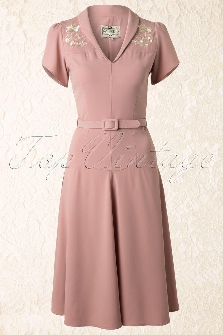 Collectif Clothing - 40s Hetti Tea Dress Pink