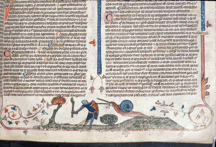 c. 1400: Giant Snail Attacking a Knight. What the headline fails to mention is that snails were presumably also very fast 600 years ago.