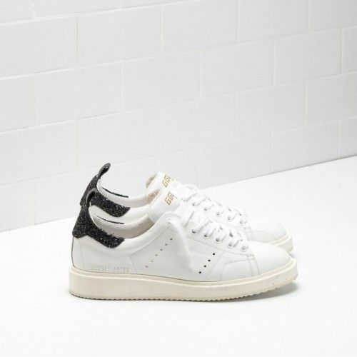 Golden Goose Soldes - Basket Golden Goose Starter In Nautrual Calf Leather  With Noir Glitter Back a08a43fff0f7