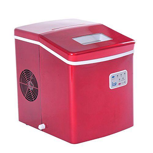 HomCom 26lbs Portable Countertop Ice Cube Maker - Red HOMCOM