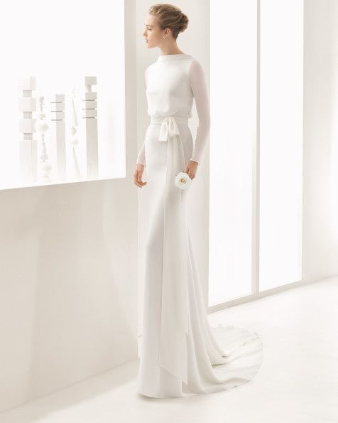 Long-sleeved crepe Georgette column dress with bloused bodice, natural waist and low back, in natural.