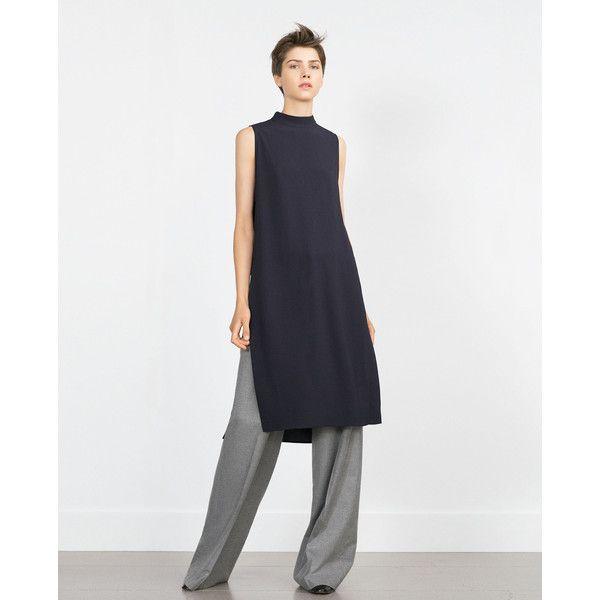 Zara Tunic With Side Slits (€62) via Polyvore featuring tops, tunics, side slit tunic, zara top, side slit top and zara tunic