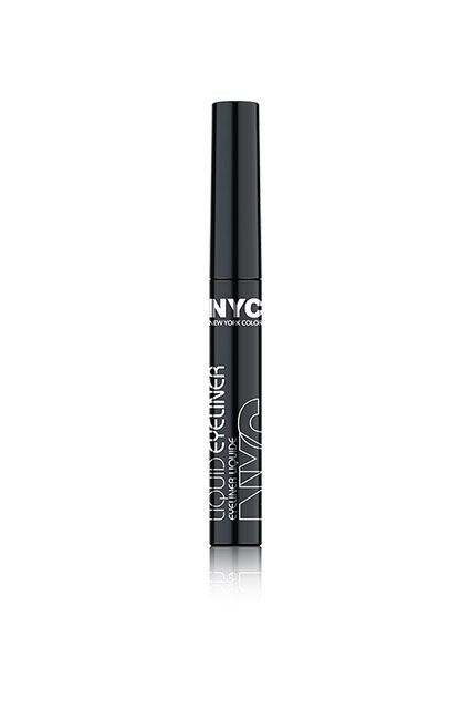Your secret to the perfect cat-eye: found. The formula is smooth and richly black, the brush is skinny and extremely easy to use, and it creates super-sharp lines in no time at all.NYC Liquid Eyeliner, $2.99, available at CVS.  #refinery29 http://www.refinery29.com/cheap-makeup#slide-25