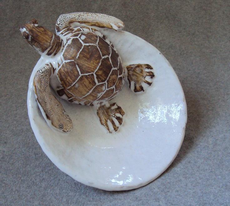 Nautical Ceramic Sea Turtle Bowl by Shayne Greco