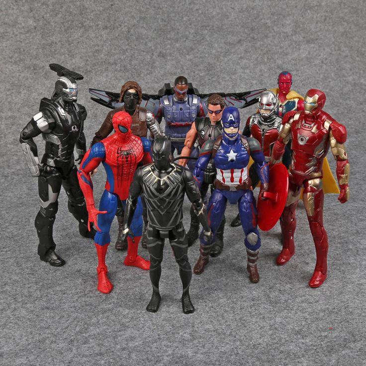Capitán América Figuras de Acción Avengers PVC Guerra Civil Ant-Man Hawkeye Falcon Visión Bucky Spiderman Iron Man War Machine