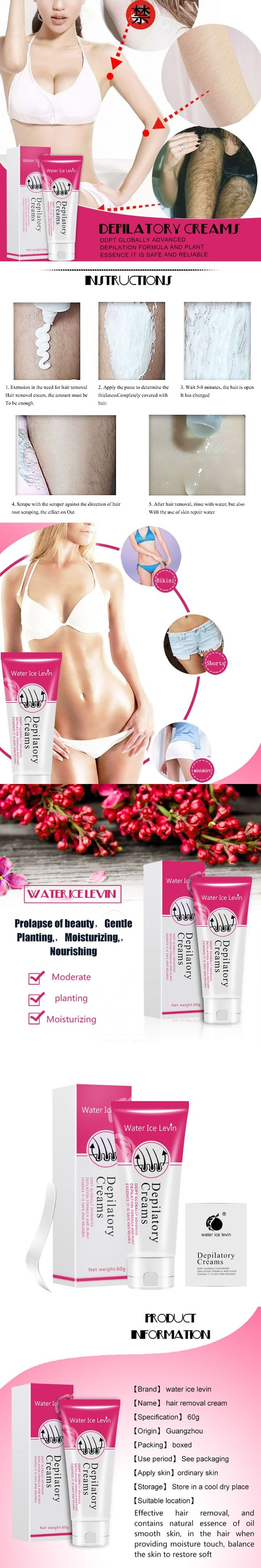 60G Hair Remov Water Ice Levin Painless Depilatory Cream Legs Depilation Cream Hair Removal for Men And Women Armpit Legs