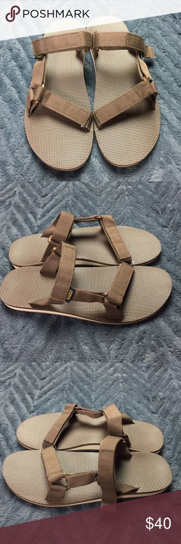 NEW Teva Original Universal Slide Flip Flop Sandal Brand new no box/tag! Teva Original Universal Slide Brown size 14 -Water-ready polyester webbing upper is extremely durable and dries quickly after getting wet -Easy hook-and-loop closure comes on and off quickly and gets the fit just right  -Universal Strapping System EVA foam footbed cushions and softly supports for all-day comfort  -Rubber outsole Teva Shoes Sandals & Flip-Flops