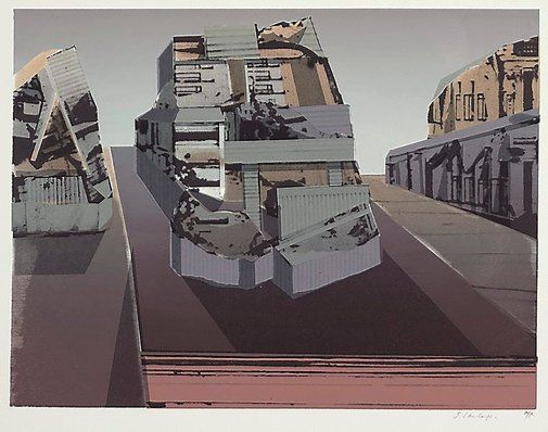 """An image of Untitled by Jan SenbergsJan Senbergs (Australia, Latvia 29 Oct 1939 – )     Untitled  Year (1977) Media category  Print  Materials used colour screenprint on Arches Satine paper Edition artist's proof for edition of 40 Dimensions 40.6 x 53.3 cm image; 57.0 x 76.0 cm sheet """" There is a platform, a slight suggestion of perspective and I was using the remaining bits of stencil that I had around the place at the time."""