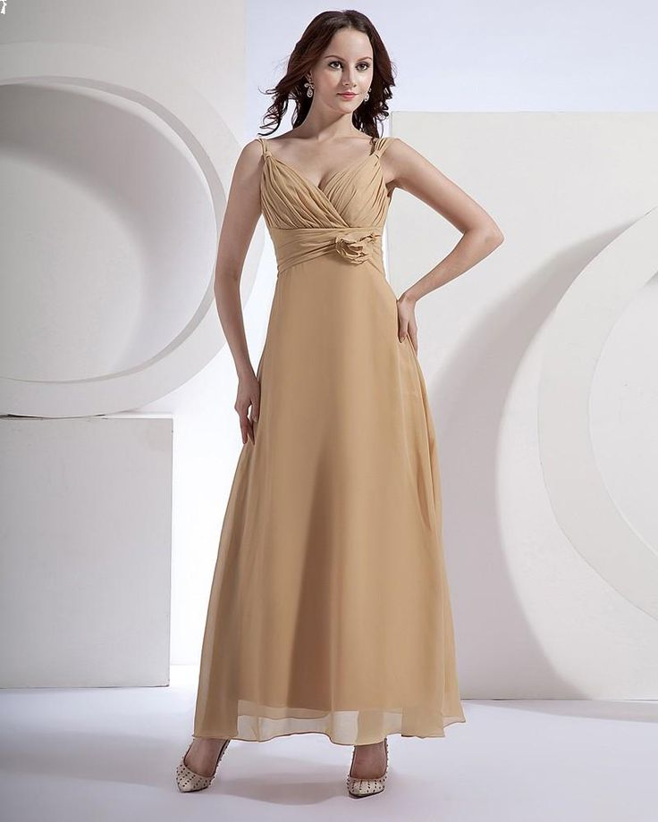 Style No.0bd01247,Spaghetti Straps ankel length Bridesmaid Dress With Handmade Flower In The Waistline,