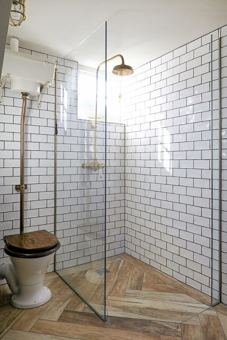 10 Beautiful Rooms - Mad About The House: wood effect floor tiles in shower via Shoot Factory