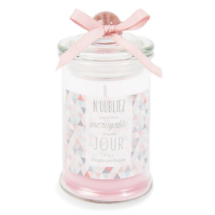 Bougie parfumée bonbonnière rose H 11 cm GRAPHIC | Maisons du Monde
