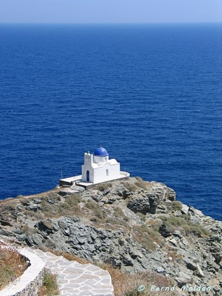 At the end of a path there is a small church, Sifnos island