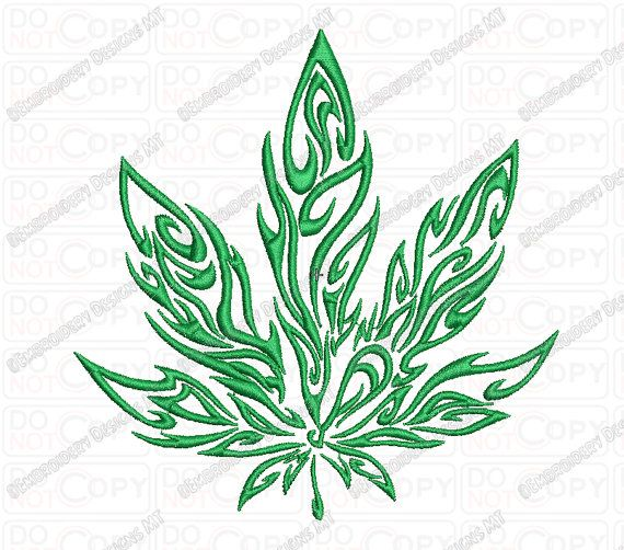 Marijuana Tribal Flame Cannabis Leaf Embroidery by Pixels2Threads
