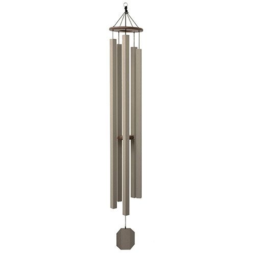 Sunsetter. Amish hand-crafted and hand-tuned. Our largest contemporary wind chime, the Sunsetter is just over 6' long and has a deep, melancholy tone. It adds the perfect background ambiance for your porch, deck or gazebo.