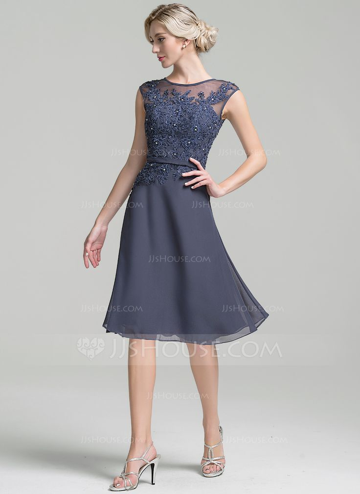 a line princess scoop neck knee length chiffon mother of the bride dress with beading sequins. Black Bedroom Furniture Sets. Home Design Ideas