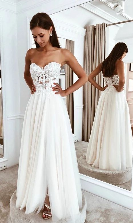Beach Wedding Dress , A-line Bridal Dress ,Custom Made Wedding Dress BDS0687
