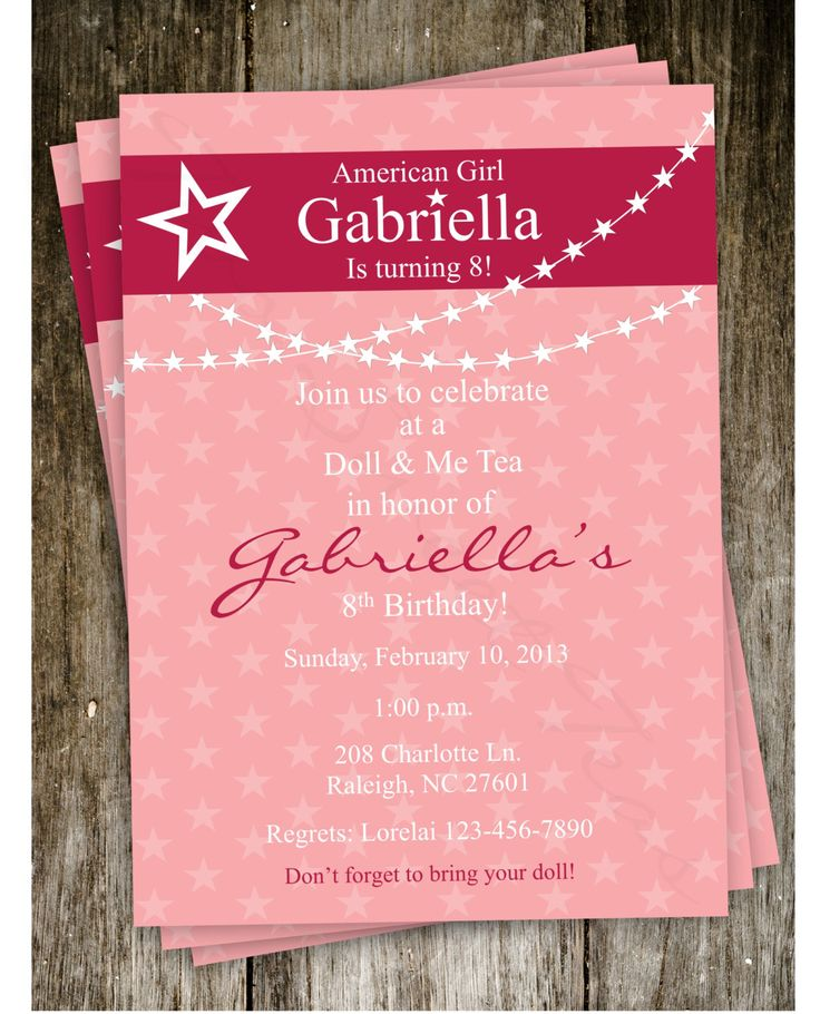 Free American Girl Party Invitations Printable – InviteTown- can't see how you actually get this for free, but do like it for inspiration at least.