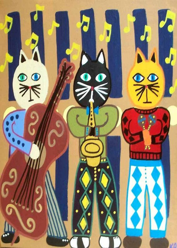 Kerri Ambrosino Mexican Folk Art PRINT Cat Jazz Band Trumphet Bass Music Rock and Roll on Etsy, $20.00