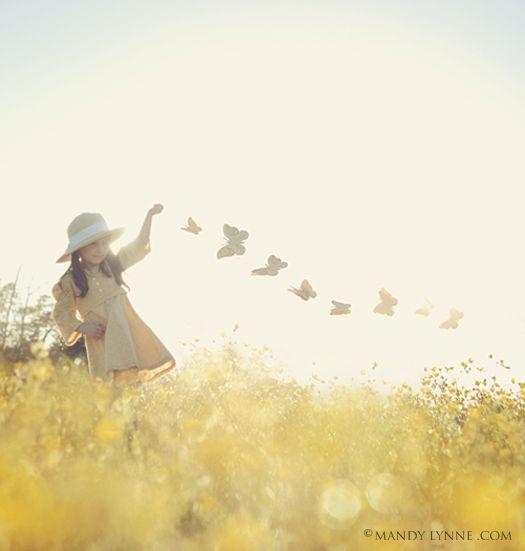 Girl toddler photography outdoors summer field dancing butterflies ✿⊱╮