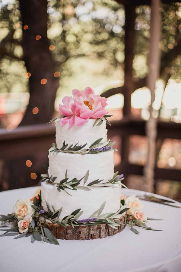 Peony and olive branch detailed wedding cake: http://www.stylemepretty.com/california-weddings/san-ramon-california/2015/10/27/rustic-summer-wedding-at-the-ranch-at-little-hills/ | Photography: Shaun Menary - http://shaunmenary.com/