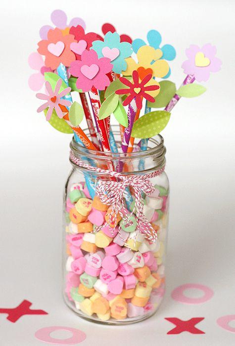 pixie stix & candy hearts. Kim and Kari, next craft idea?: Centerpiece, Valentines Parties, Teacher Gifts, Idea, Paper Flowers, Valentine'S S, Valentines Day, Mason Jars, Pixie Stix