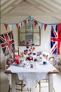Union Jack flags and bunting for 1940's party