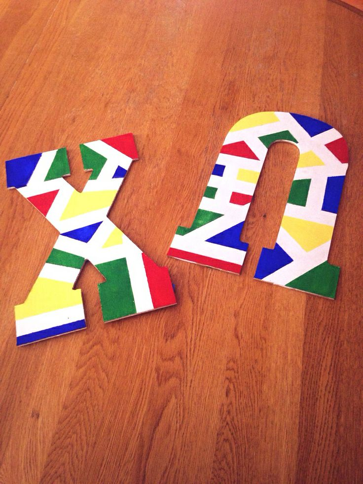 hand painted wooden greek letters