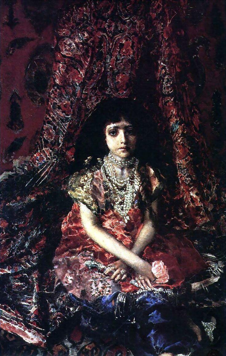Михаил Александрович Врубель - Девочка на фоне персидского ковра, 1886, Холст, масло, 104×68 см, Киевский музей русского искусства