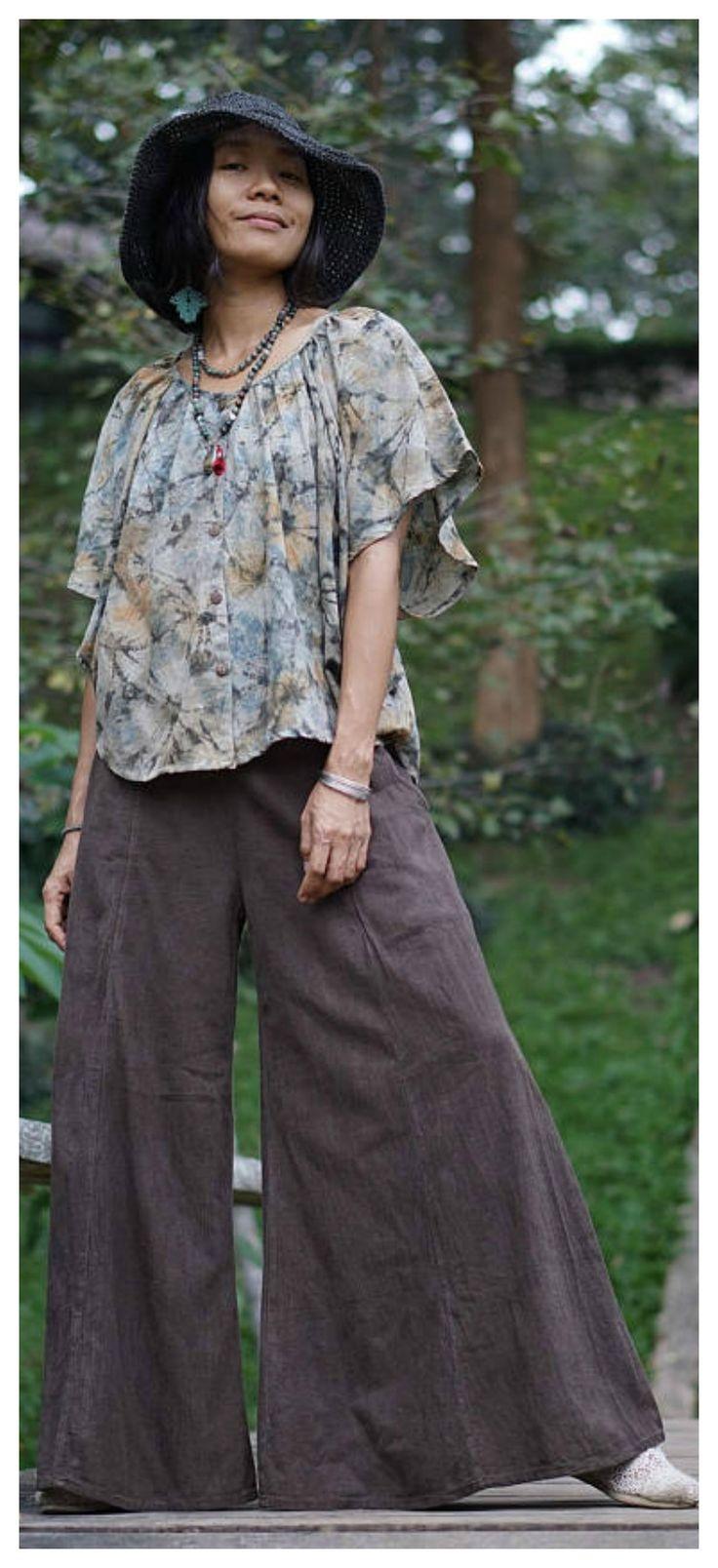 Wide leg pants casual or hippie boho style... hippy festival pants, loose boho pants, gypsy pants, boho festival pants, wife boho gift, hippie pants, festival pants, hippies pants, pants