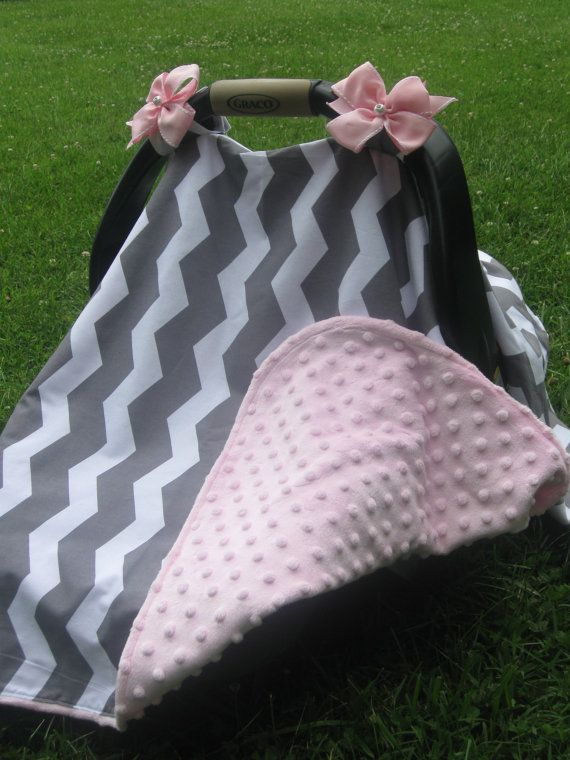 Car Seat Canopy - White and Grey Chevron w/ Pink Buble Minky Backing on Etsy, $35.00
