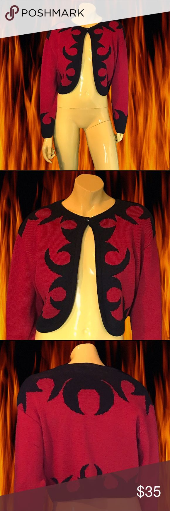 """•🔥🖤 90s Flame & Thorn Knit Bolero Cardigan 🖤🔥• Perfect lil' cardigan to match the coal you got for Christmas. 💥💨✔️✨.  : GHM Gallay • 💯% Cotton • M • Made in Hong Kong 🇭🇰 • ⭐️⭐️⭐️⭐️/5 • Great condition; small mark on back left arm. • . • Bust: 38"""" • • Length: 16"""" • • Shoulder: 18"""" • . . • * • . • ✶ • . • * •. #vintage #vtg #retro #1990 #1990s #90 #90s #bolero #knit #flame #thorn #black #naughty #red #cardigan #day #drag #realbazaar #seattle Vintage Sweaters Cardigans"""