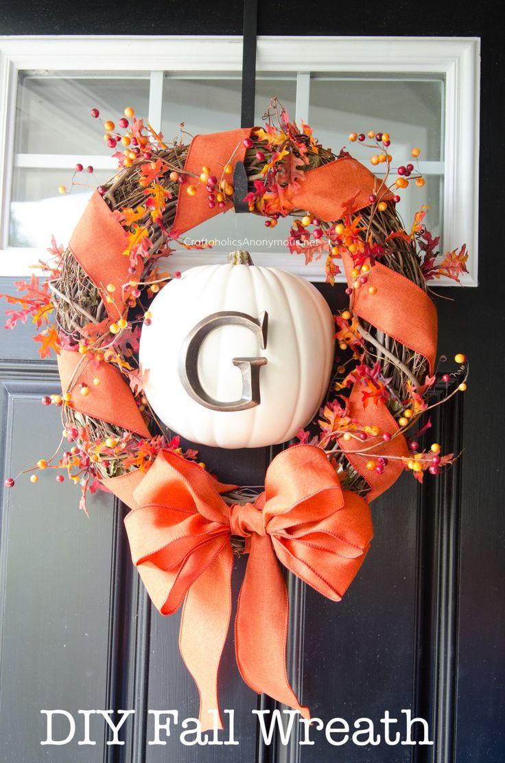 Diy Fall Wreath With Monogram Pumpkin Tutorial Crafts