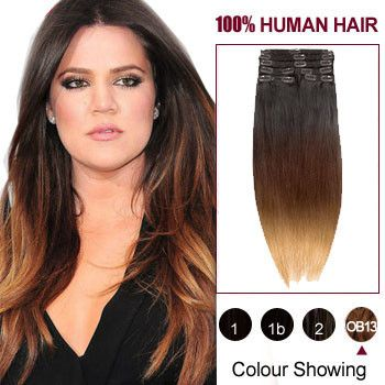 """20"""" Three Colors #1b #27 And #30 Ombre Indian Remy Clip In Hair Extensions"""