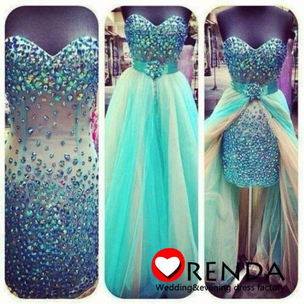 Charmming Hot Selling Sweetheart Crystal Beads Mint Green Detachable Trains Luxurious Cheap Evening Prom Dresses 2014 Orenda-in Prom Dresses from Apparel & Accessories on Aliexpress.com