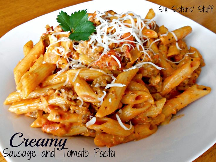 Creamy Sausage and Tomato Pasta Recipe.  An easy and delicious meal your whole family will love!