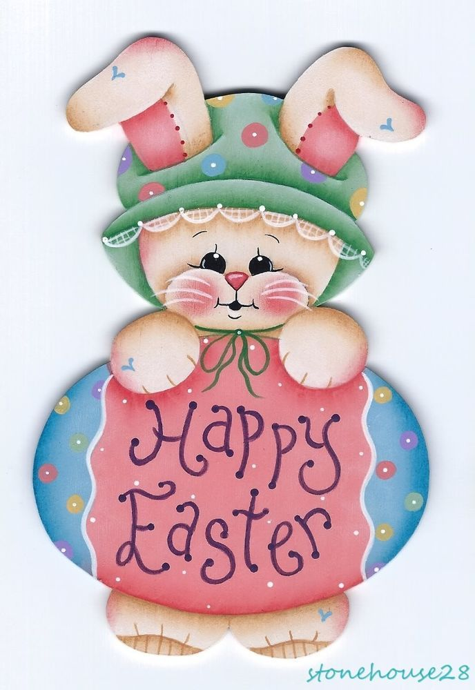 HP BUNNY Happy Easter FRIDGE MAGNET #Handpainted