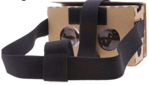 ROXX Ready to Use Folded Google VR Virtual Reality 3D Cardboard Glasses for 3D Movies Games for Apple Android w/Straps