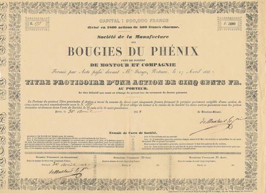 Société de la Manufacture des Bougies du Phénix, Paris, 1838