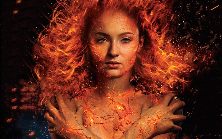 Download wallpapers Jean Grey, Dark Phoenix, X-Men Dark Phoenix, 2018 movie, Sophie Turner