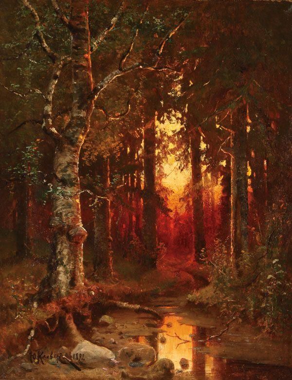 """JULIUS  KLEVER(Russian 1850-1924) Wooded Landscape at Dusk""""1892"""""""