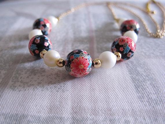 Oriental Floral Long Necklace